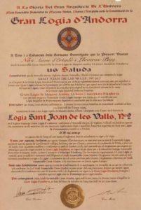 Carta Patent emesa per la G.L.A i donada a la Respectable Lògia de Sant Joan de les Valls Núm. 2