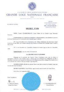 Decret Núm. 894 de la Gran Lògia Nacional Francesa